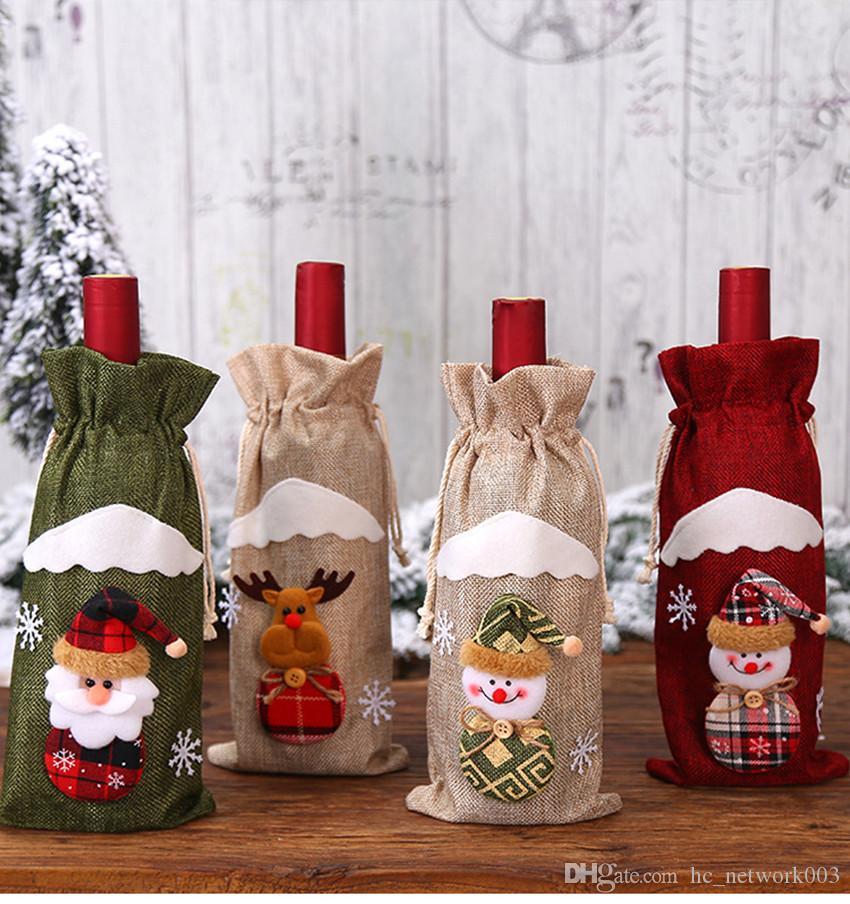 크리스마스 와인 병 커버 가방 산타 클로스 선물 순록 눈송이 요정 병 가방 케이스 눈사람 크리스마스 홈 인테리어 A03을 잡고