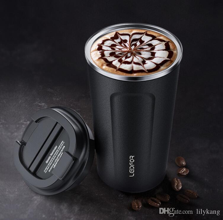 380 ملليلتر الإبداعية المقاوم للصدأ vocuum أكواب القهوة المحمولة trvavel التخييم في الهواء زجاجة المياه مقبض بارد قوارير البيرة النبيذ أكواب السيارات