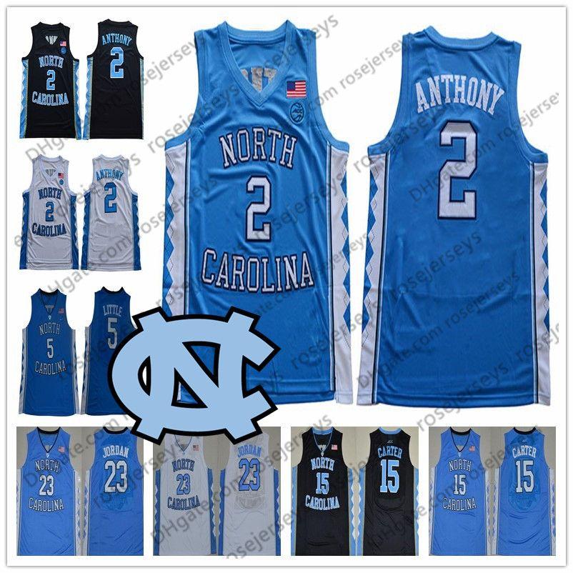 2020 North Carolina Tar Heels con el nº 2 Cole Anthony Michael 23 5 15 Nassir Poco Vince Carter UNC Escuela de Baloncesto azul Negro Blanco Jerseys