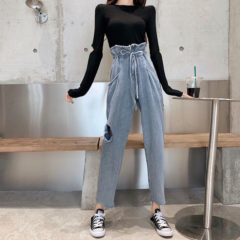 Harajuku nova Chic Calças de brim rasgadas mulher coreana de cintura alta para mulheres mais solto Pockets forma jeans senhoras denim jean femme