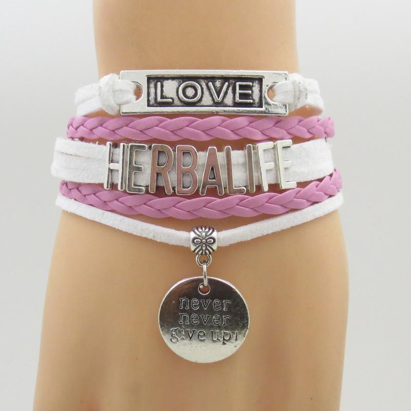 Mode Herbalife Armbänder Unendlichkeit Liebe Herbalife Zeichen Armband weiß und rosa Leder hängen geben nie Herz Charme