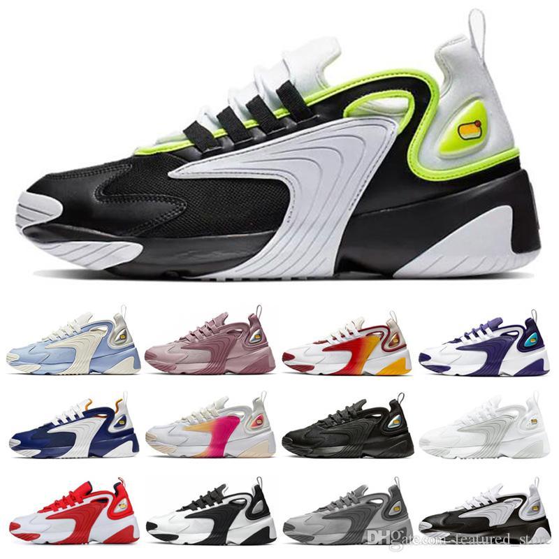 Compre Nike Zoom 2K Hombres Zoom 2K Negro Blanco Blanco Cremoso Red Race  Triple Negro Running Zapatos Blanco Negro Azul ZM Trainer De Diseño ...