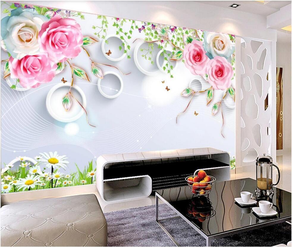 WDBH miglioramento 3d foto carta da parati murales personalizzato Home 3D rosa, fiore immagini d'arte di fondo della parete della casa decorazione della parete parete TV divano del soggiorno