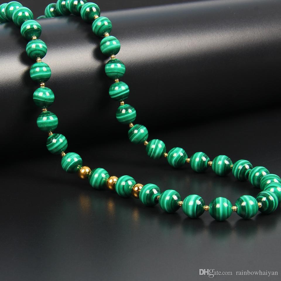 New Stone Design Bijoux 8 mm naturelles une catégorie Malachite collier de perles Sautoirs en acier inoxydable pour l'amour