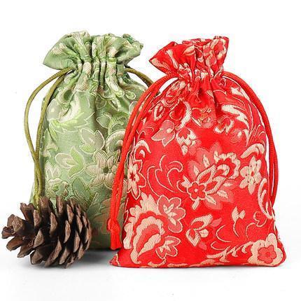 حقيبة مجوهرات حريرية أنيقة صغيرة ورديئة الحرير أكياس تغليف الهدايا