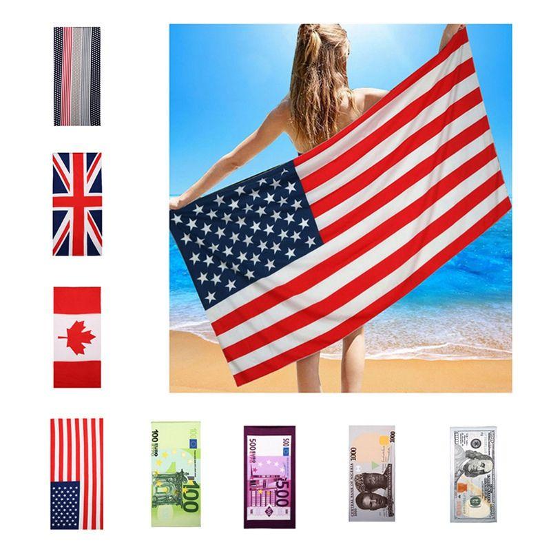150 * 70cm Estate microfibra tovagliolo di bagno US Flag Uk Flag dollaro stampato Telo di corsa esterna Quick-Dry Sport Towel BH1886 TQQ