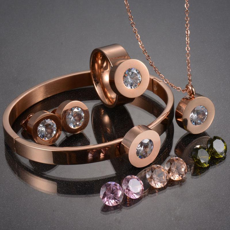 UZone Üst Kalite 316L Paslanmaz Çelik Ünlü Marka Takı Seti Değiştirilebilir 7 Renk Avusturya Kristal Bijoux Seti