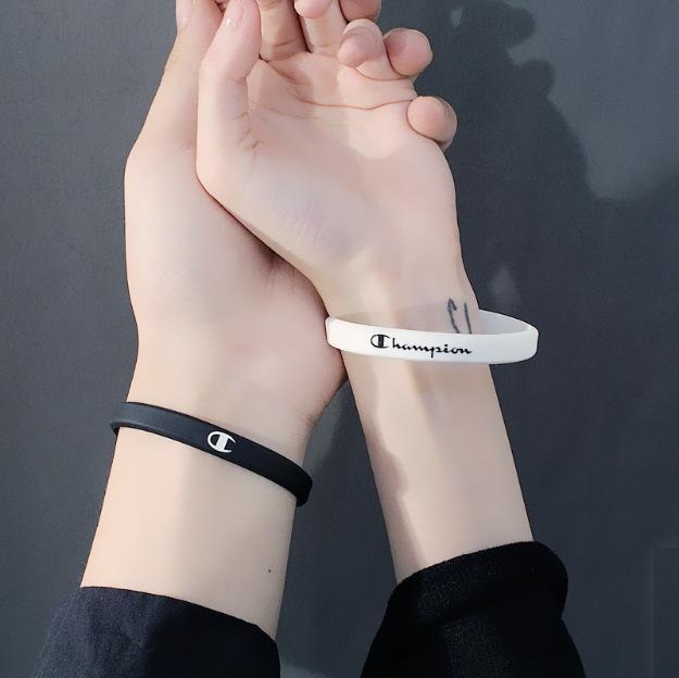 Персонализированные простое письмо спортивные браслеты баскетбол мужчины и женщины резиновый браслет студент пара энергии силиконовые браслеты
