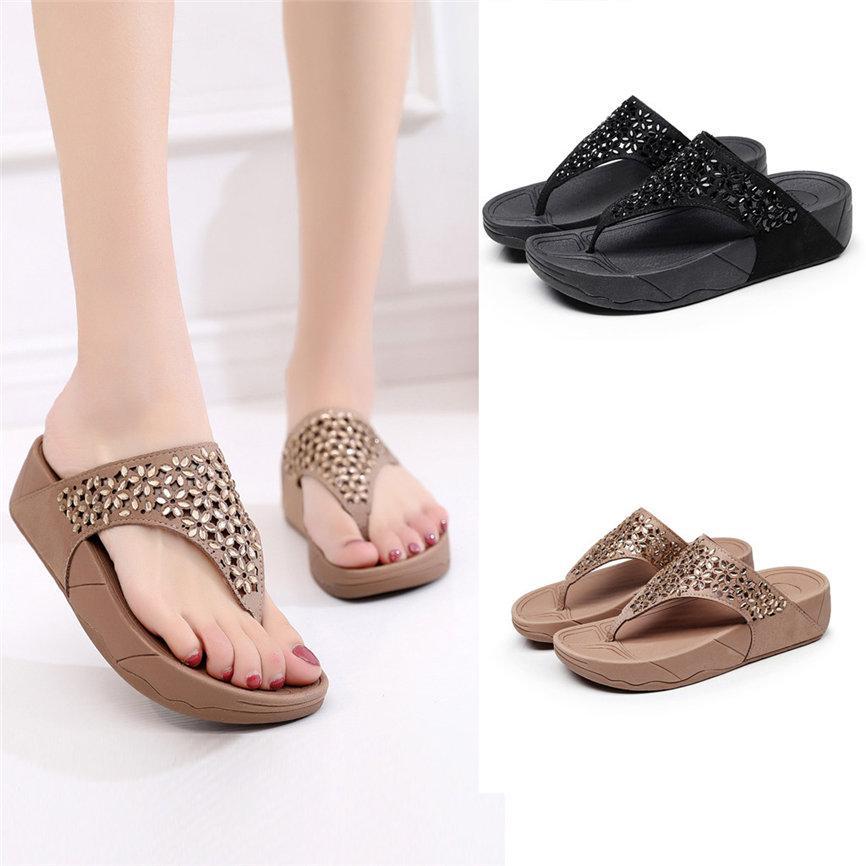 SAGACE Women's Slipper Summer Women Ladies Fashion Wedges Causal Flats Beach Anti-Slip Slipper Shoes Sandals For Ladies A#26