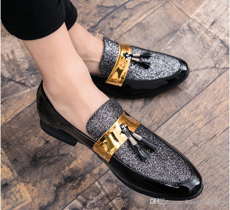 2021 New Style PU Cuero Moda Hombres Vestido de negocios Mocasines Puntos Negros Negros Oxford Zapatos de boda formales transpirables N280