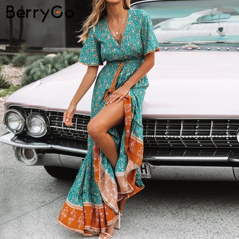 fbe437f7f361a Satın Al Berrygo Kadın Elbiseler Bohemian Elbiseler Baskı Yaz Elbise Kısa  Kollu Ruffled Uzun Maxi Elbise V Yaka İpli Bayanlar Vestidos Y19041801, ...