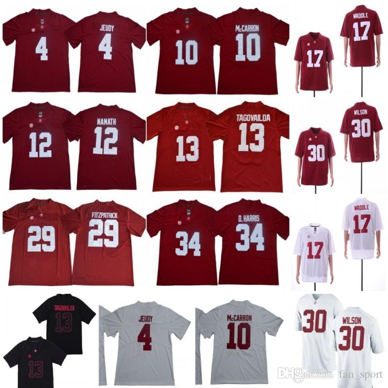 2019 NCAA 13 Tua Tagovailoa 34 D.Harris 4 Jerry Jeudy 17 Waddle 30 Wilson Orange Bowl Championship Alabama Crimson Tide Football Jersey