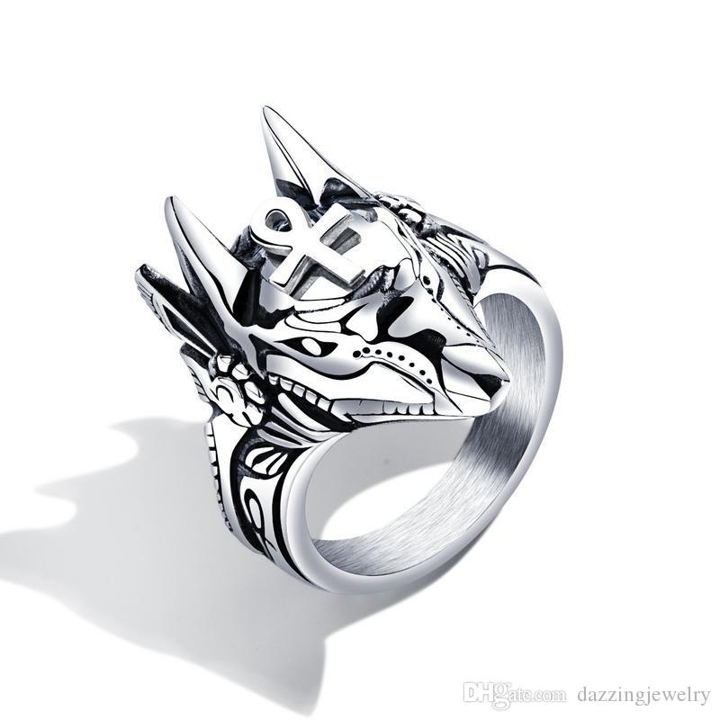 Stainless steel men's retro jewelry domineering Anubis Egyptian cross Titanium steel ring game peripheral jackal head ring