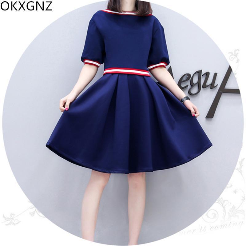 Kadın Yaz Yeni Koreli Moda Basit Elbise Kadın Koleji Stil İnce Büyük Beden A Kelime Elbise Öğrenci M-3XL Tatlı A232