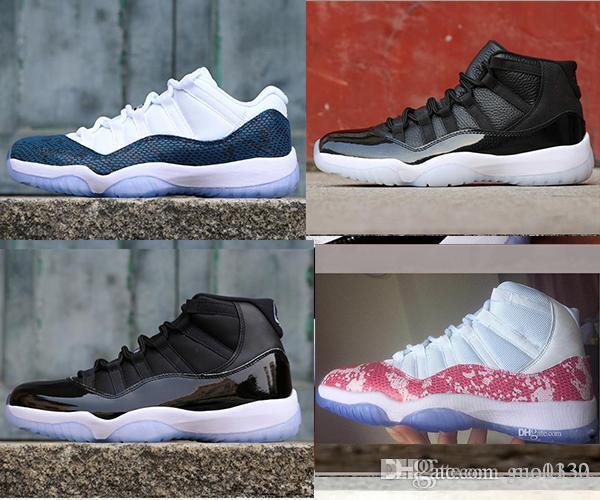 11 nuevos zapatos de baloncesto de mens rosa de piel de serpiente Platinum Tint 11s deportivas zapatillas de deporte de la Armada atléticos Bred diseñador de zapatos Bone Luz URE 40-47