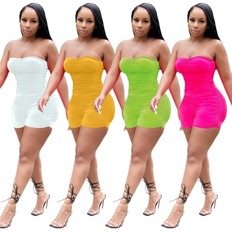 Womens strapless jumpsuit romper sexy bodysuit jumpsuits one piece shorts new hot selling female clothing fashion solid jumpsuits klw3877