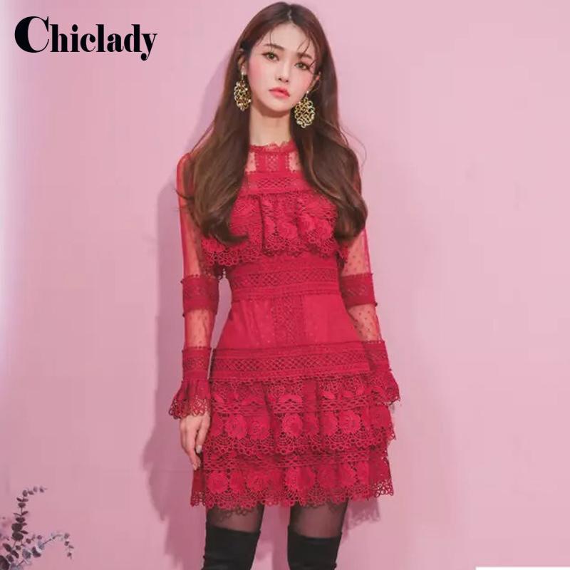 CHIALADY dantel zarif kırmızı Balck Mini yüksek kaliteli dantel fırfır oymak nokta ebroidery günlük kollu elbise kadın elbise örgü elbise