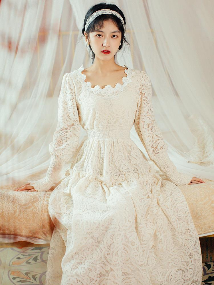 Diseño elegante largo maxi novia de la boda de los huéspedes Holiday únicos vestidos de las mujeres mejor partido de la Serie de Calidad vestido beige de encaje con Encanto Nueva 6695