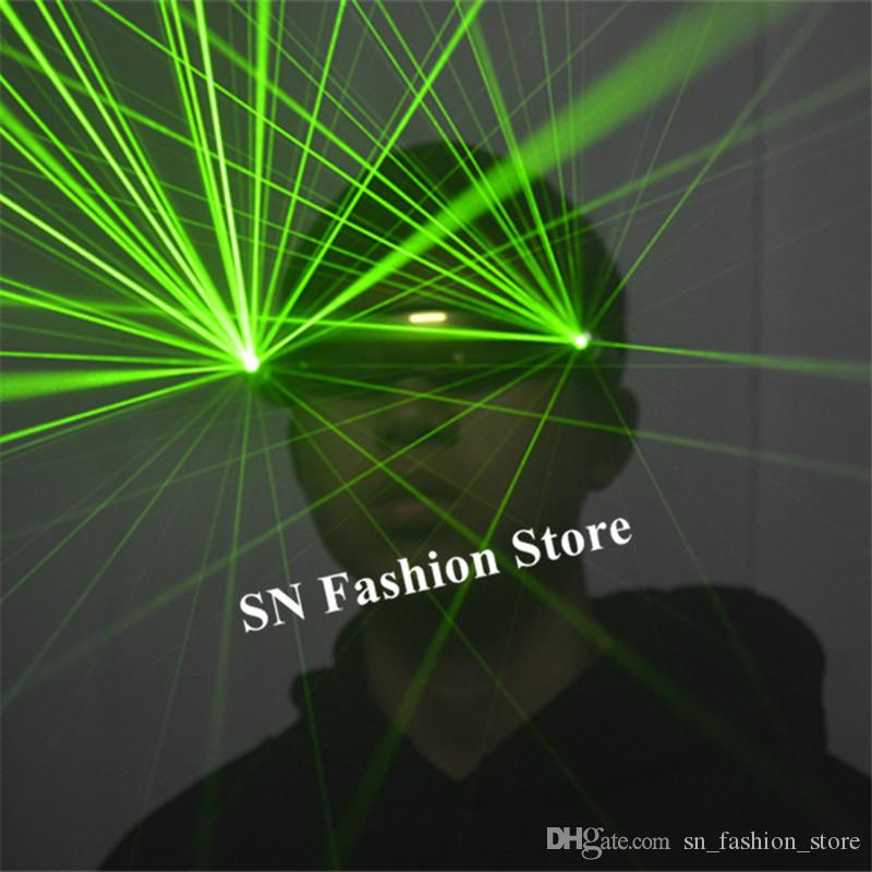 P12 Rave party cosplay wears dj gloves 2pcs laser heads green laser glasses bar perform robot men glowing projector men show dj costumes led