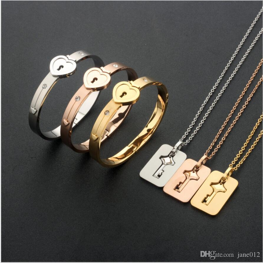 Edelstahl-Paar-Armband-Armband-Halskette Valentine Schloss-Schlüssel-hängendes Schmuck-Set für Freund Freundin Geburtstag Geschenke Box