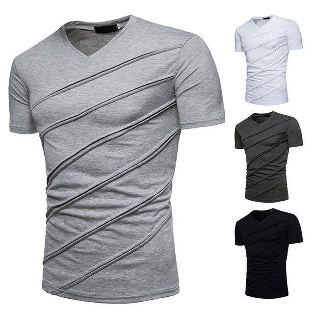 Toptan Erkek V Boyun Tişört Yaz Pamuk Kısa Kollu Geri Beyaz Gri Katı Moda Casual Bluz Tees Tops