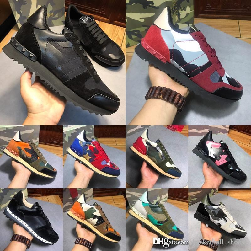 Valentino Männer Echtes Herren Leder Mode Luxus Designer Schuhe Weißes Leder Open Sneaker Mit Schwarz Weiß Trainer Chaussures Baskets 38-46