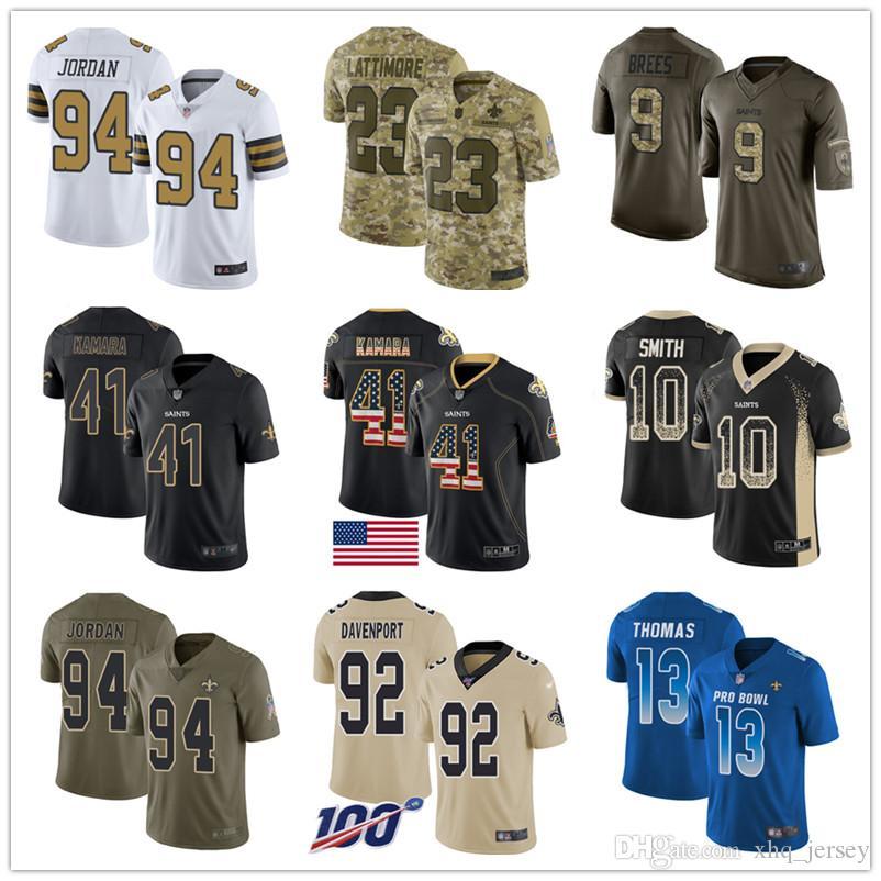 Personalizado nuevo Saintss jerseys Alvin Drew Brees Kamara Michael Thomas Marshon Lattimore Marcus Davenport Mujeres Jóvenes Hombres camiseta de fútbol