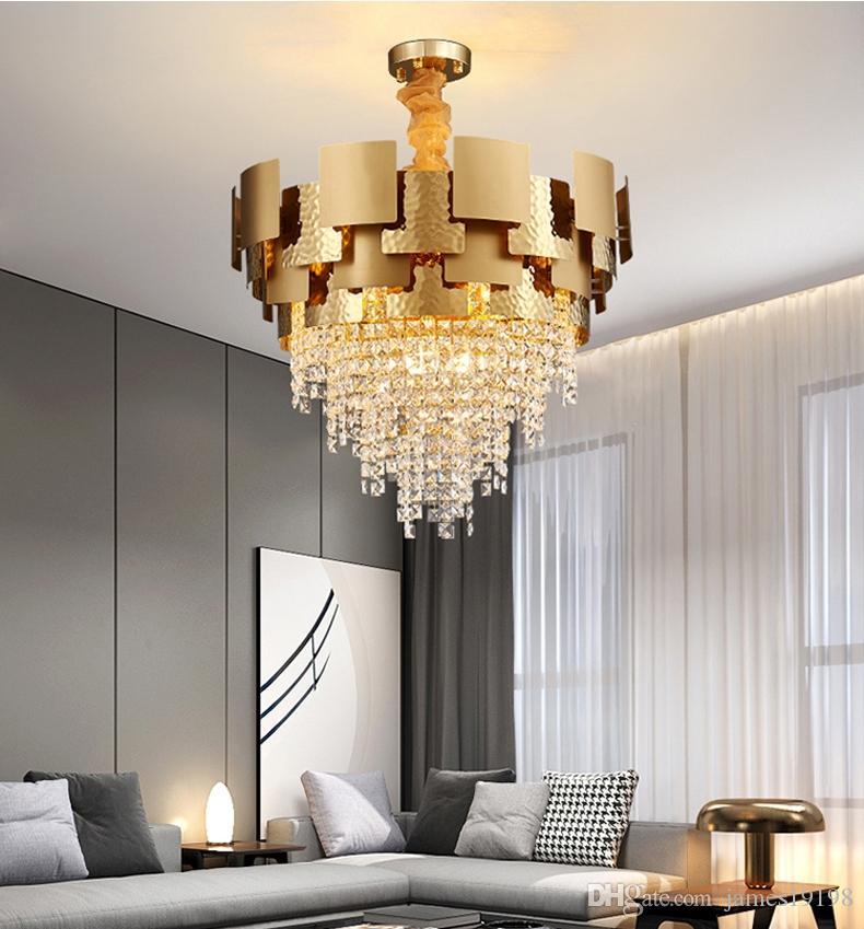 Современные роскошные круглые золотые металлические хрустальные люстры креативное освещение домашнее искусство живущая комната подвесной светильник PA0624