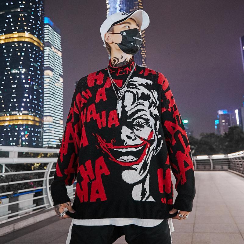 Automne 2018 Hommes Nouveau Clown Pull Hip Hop Pull en coton en vrac Streetwear surdimensionné Hommes Pull Mode MX191214