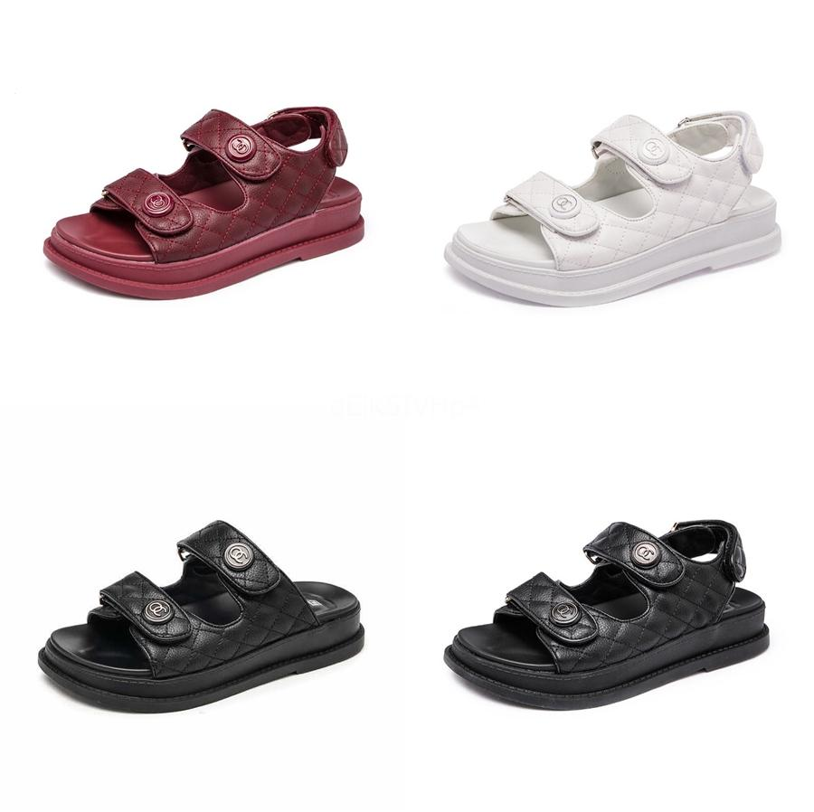 Soled gran tamaño de las mujeres de las sandalias 2020 Verano Romano Peep Toe plana Sandalia Femenina con los zapatos de estilo americano Gykaeo Europea Y Mx200407 # 865