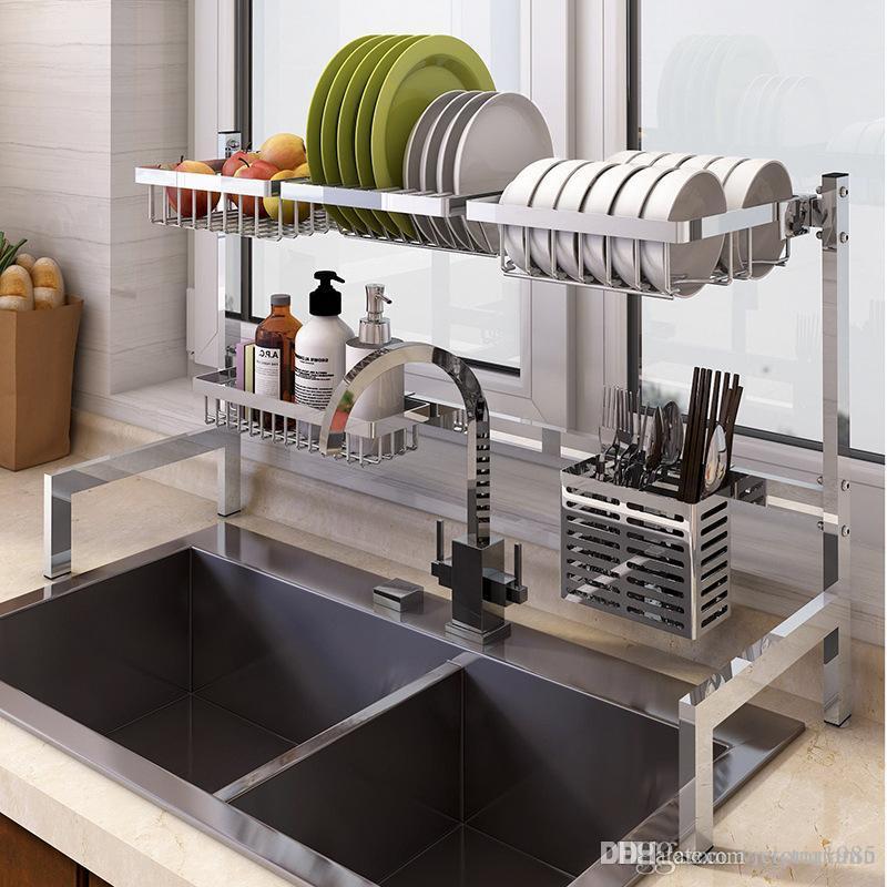 Estante de almacenamiento multifuncional para fregadero de cocina cuenco de lav