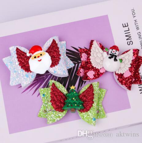 소녀 헤어핀 아기 헤어핀 Bowknot 크리스마스 반짝이 헤어핀 크리스마스 트리 크리스마스 모자 산타 인쇄 크리스마스 파티 선물 헤어 액세서리 WY60