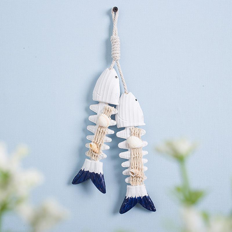 hediye ve tatil için sıcak satış Akdeniz tarzı yeni balık kemik masif ahşap balık dize yaratıcı balık ağı asılı duvar çekim sahne