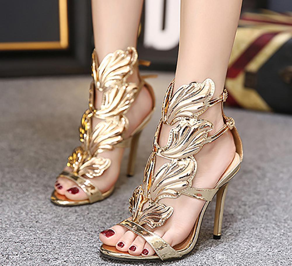 Женщины высокого класса мода роскошные металлические крылья Стилет каблук сандалии партия обуви девушки сексуальные высокие каблуки свадебные туфли сандалии банкетный