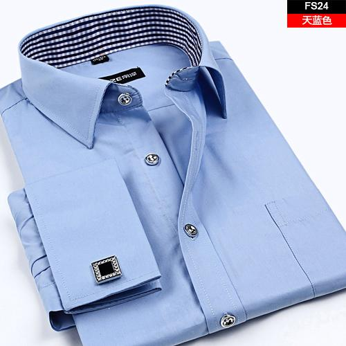 camisa de manga comprida Francês masculino atacado- abotoaduras mens masculina camisa de manga prego comercial magro cuidado fácil s-4xl grande fz0205 tamanho