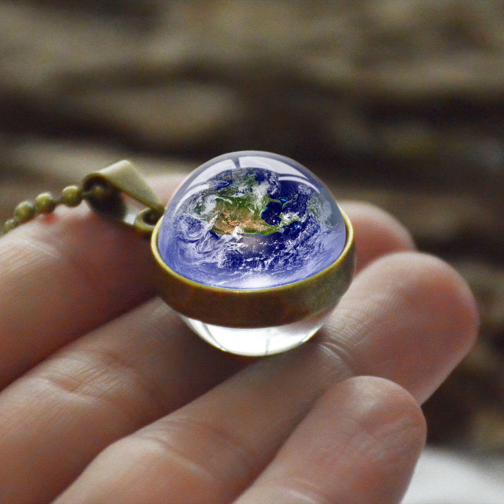 Nouvelle personnalité mode double face collier de billes de verre terre planète modèle bijoux galaxie astronomie pendentif collier