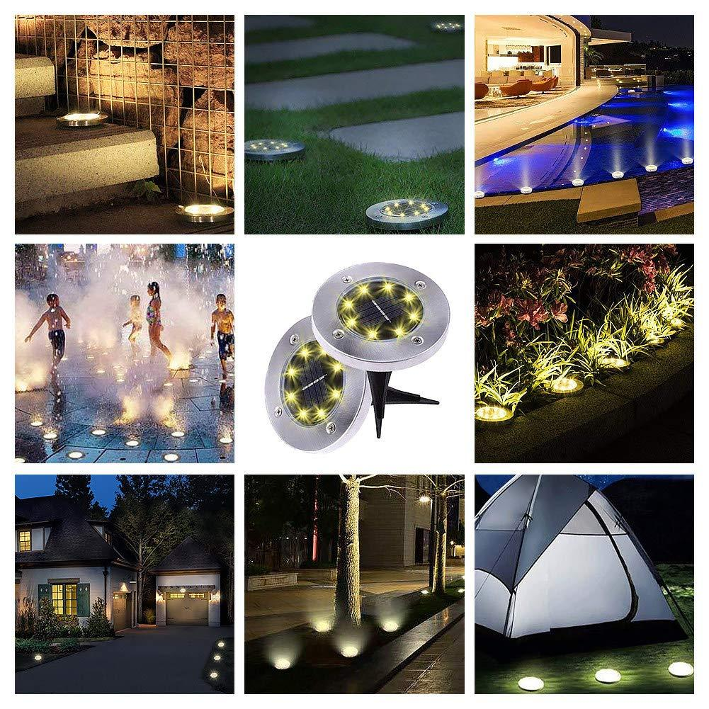 8 LED Bulbs Waterproof Solar Garden Lights for Pathway Outdoor in-Ground Lawn Yard Deck Patio Walkway-Warm White (4 Pack)