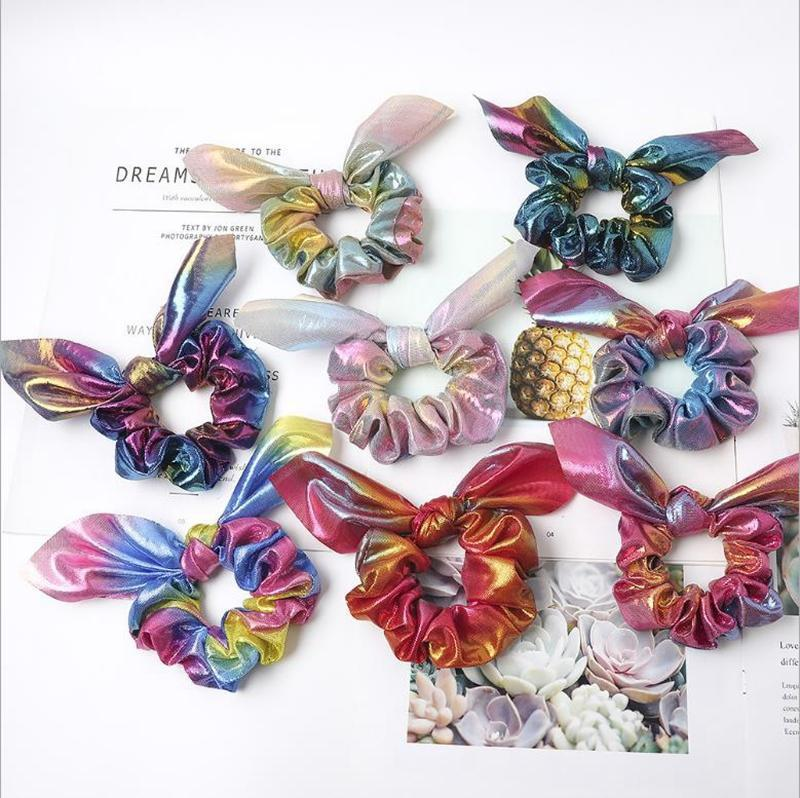 Kaninchen-Ohr-Scrunchies Bronzing-Haar-Ring Ropes-Bogen-Haar-Band-Stirnband-buntes Haar Schal Mädchen Hair Zubehör 8 Designs