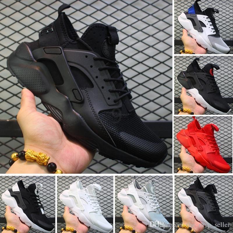 Huarache 4,0 1,0 clásica de oro gris Triple Blanco Negro rojo de las mujeres zapatos de aire Huarache Huaraches deportivas zapatillas de deporte de los zapatos corrientes de grises tamaño 36-45