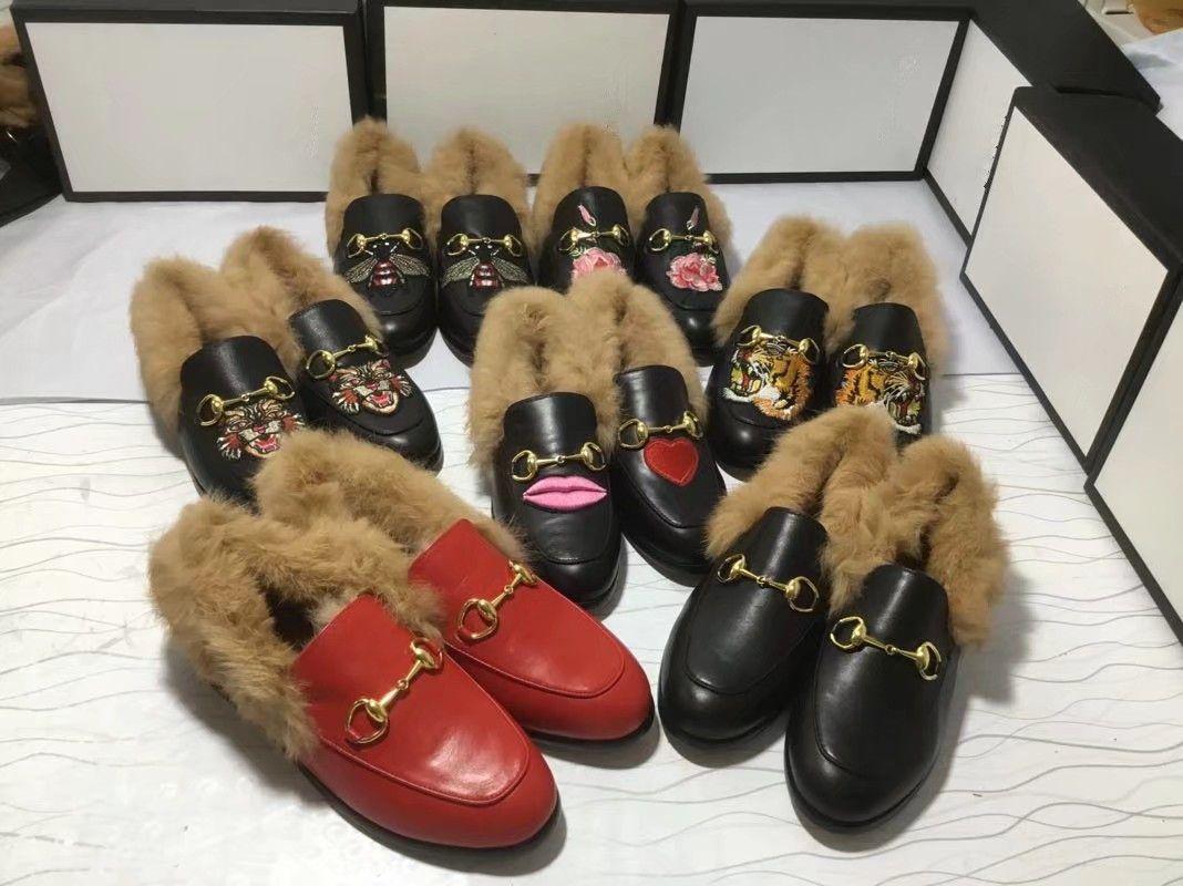 Yepyeni moda tasarımcısı erkek deri ve kürk mokasen lüks deri kadife ayakkabılar kız bayanlar rahat ayakkabı birçok stilleri 34-46 yassı womens