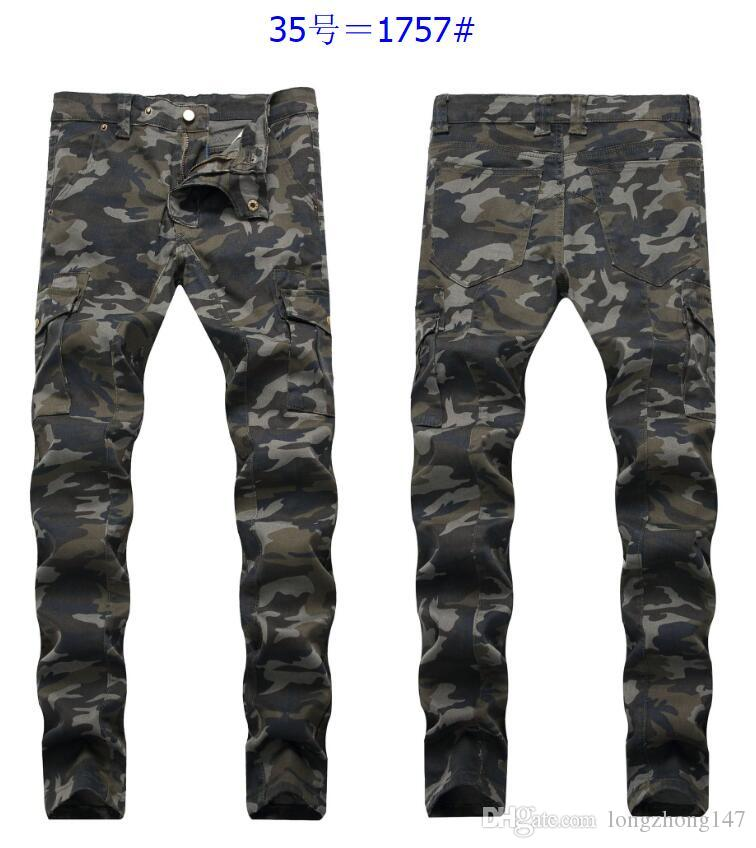 2019 original promotion designer fashion 2019 Man'S Casual Jeans Motorcycle Skinny Pants Tights Fold Camo Trousers  Men Cotton Pencil Pants Mens Biker Jeans Biker Jeans Camouflage Pants From  ...