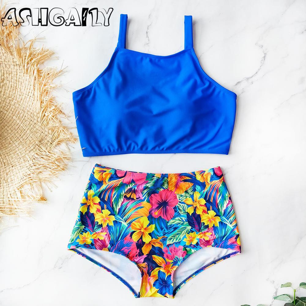 2020 High Waist Swimsuit High Neck Bikini Set Women Swimwear Vintage Bikinis Bathing Suit Swim Wear Biquini Female