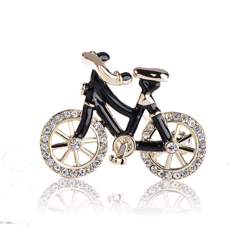 Großhandel 10 pc / 1 Satz Emaille Fahrrad Broschen für Frauen Mann Bike Broach Kleid Strickjacke Dekoration Kristall Brosche Freies Verschiffen Geschenk