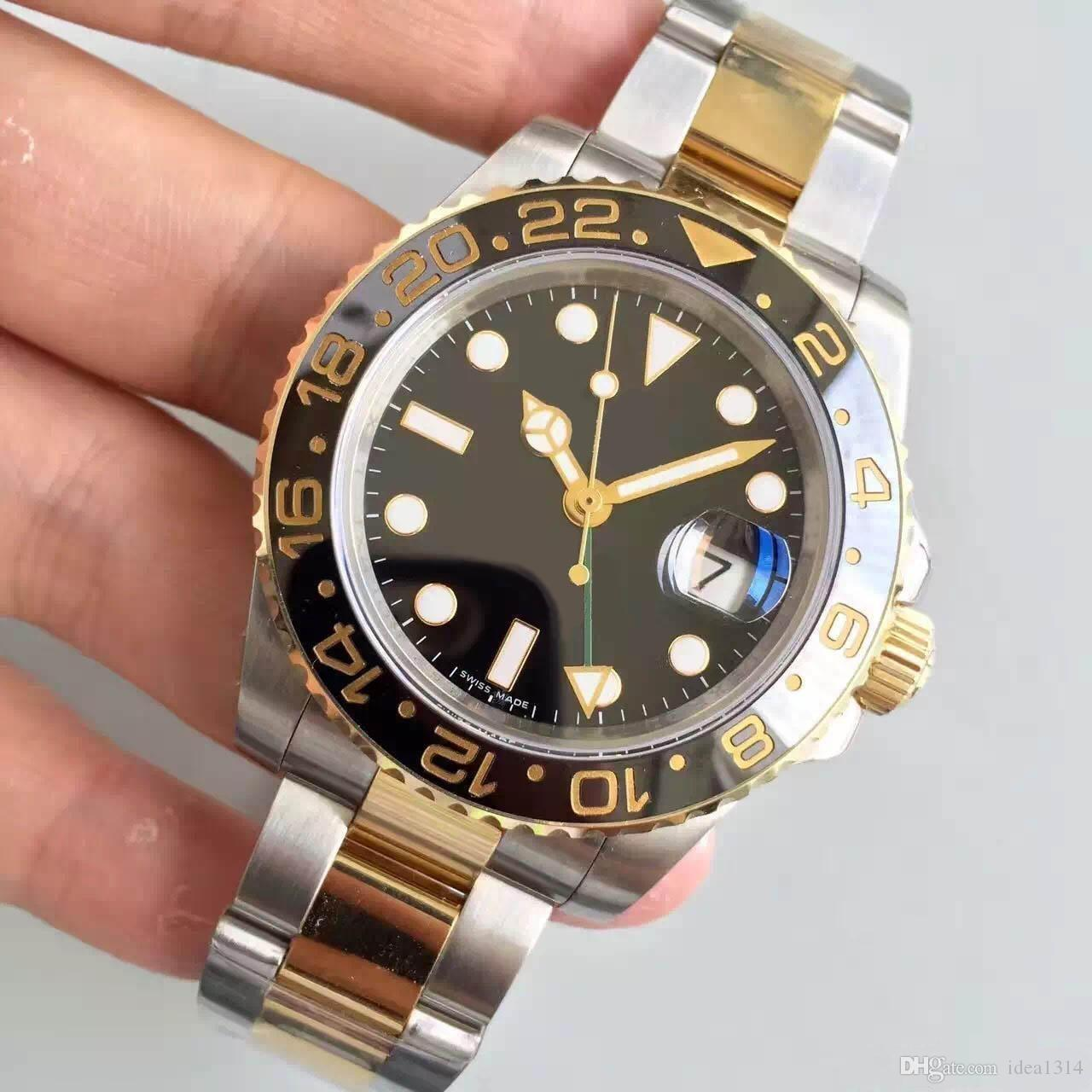 relógio da qualidade dos homens venda quente GMT II Série cerâmica anel de ouro 18K embutimento Qualidade Movimento automático Sapphire espelho ajuste independente
