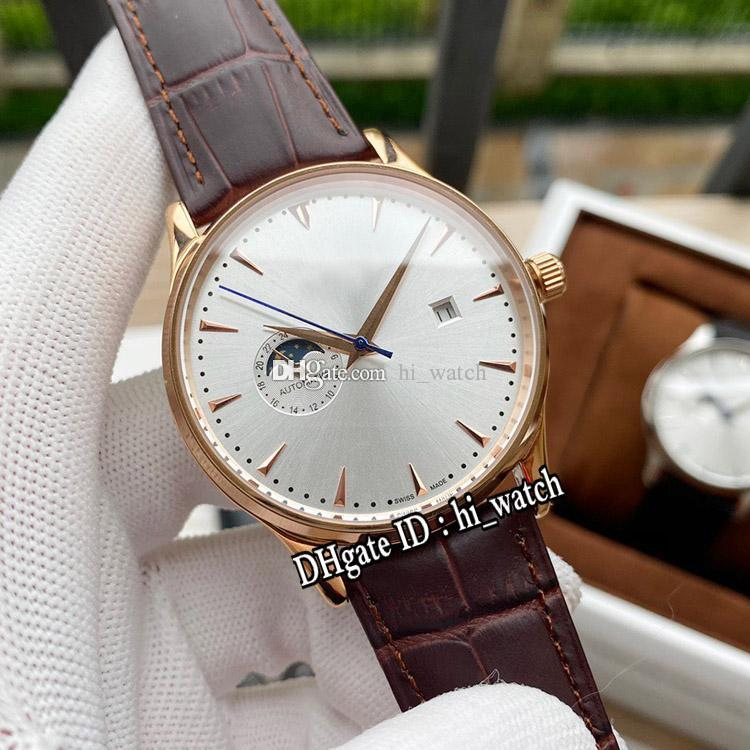 New Master Moon Phase Automatic Mens Watch Rose Gold Silver Dial Gold Stick Markers Brown Leather Strap Hi_Watch Cheap E127a1