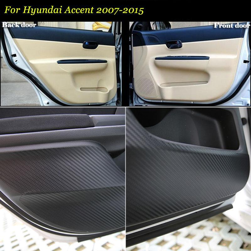 Marque Nouveau 1 Set portes d'intérieur en fibre de carbone 3D bord latéral de la protection anti-coup Pad Autocollant Pour Accent 07-15