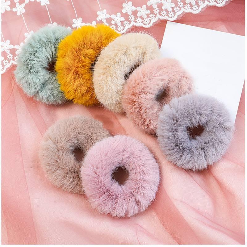 Fashion Fluffy Faux Pelliccia Peloso Scrunchie anello elastico dei capelli della corda della fascia turno di ragazze Scrunchie nero Fluffy Bianco