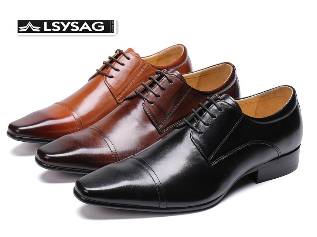 Wedding Party Men Dress Shoes Square Toe Genuine Leather Men Oxford Shoes Lace Up Brogue Business
