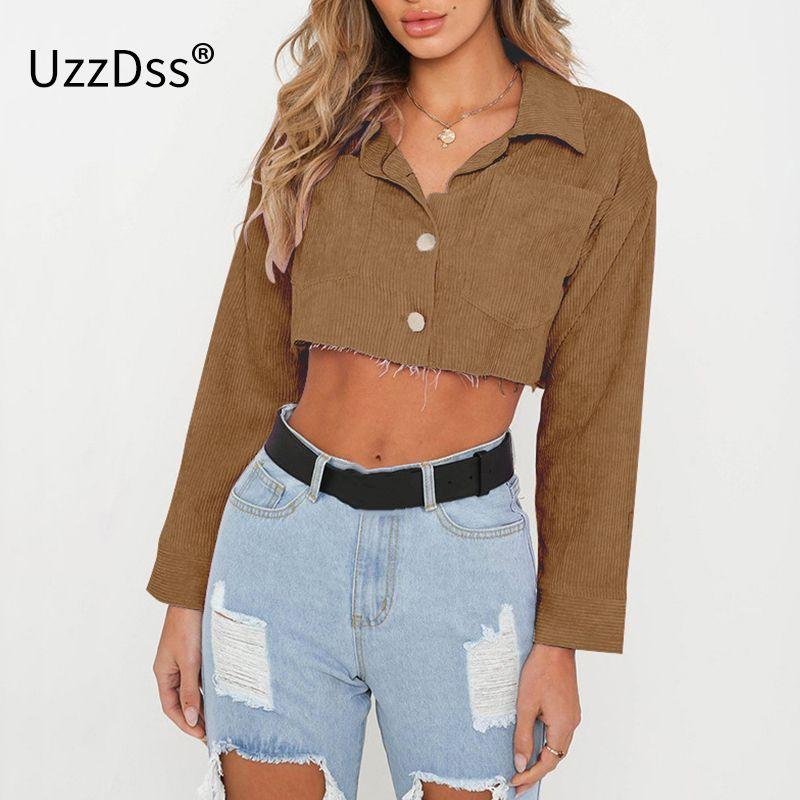 Pamuk Uzun Kollu Mahsul Tops Sokak Giyim Turn Down Yaka Bluz Kısa Katı Üst Kadın Denim Ceket Yaz Düğme Cep T5190605