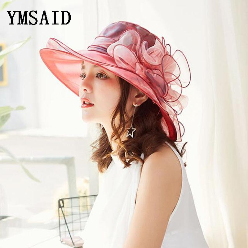 Fashion Summer Organza Sun Hats For Women Elegant Laides Church Vintage Hat Wide Large Brim With Flower Beach Hat Chapeau Female